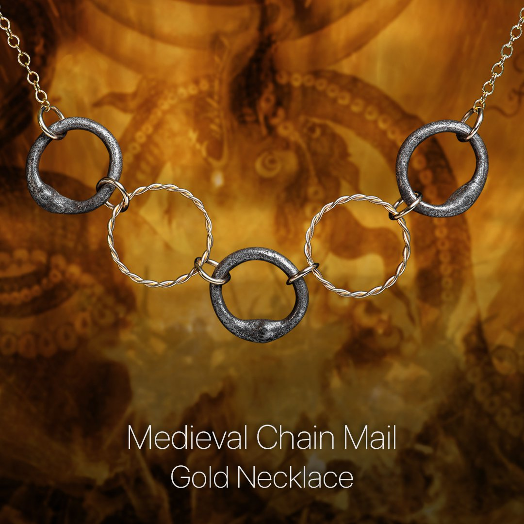 Medieval Chain Mail Gold Necklace