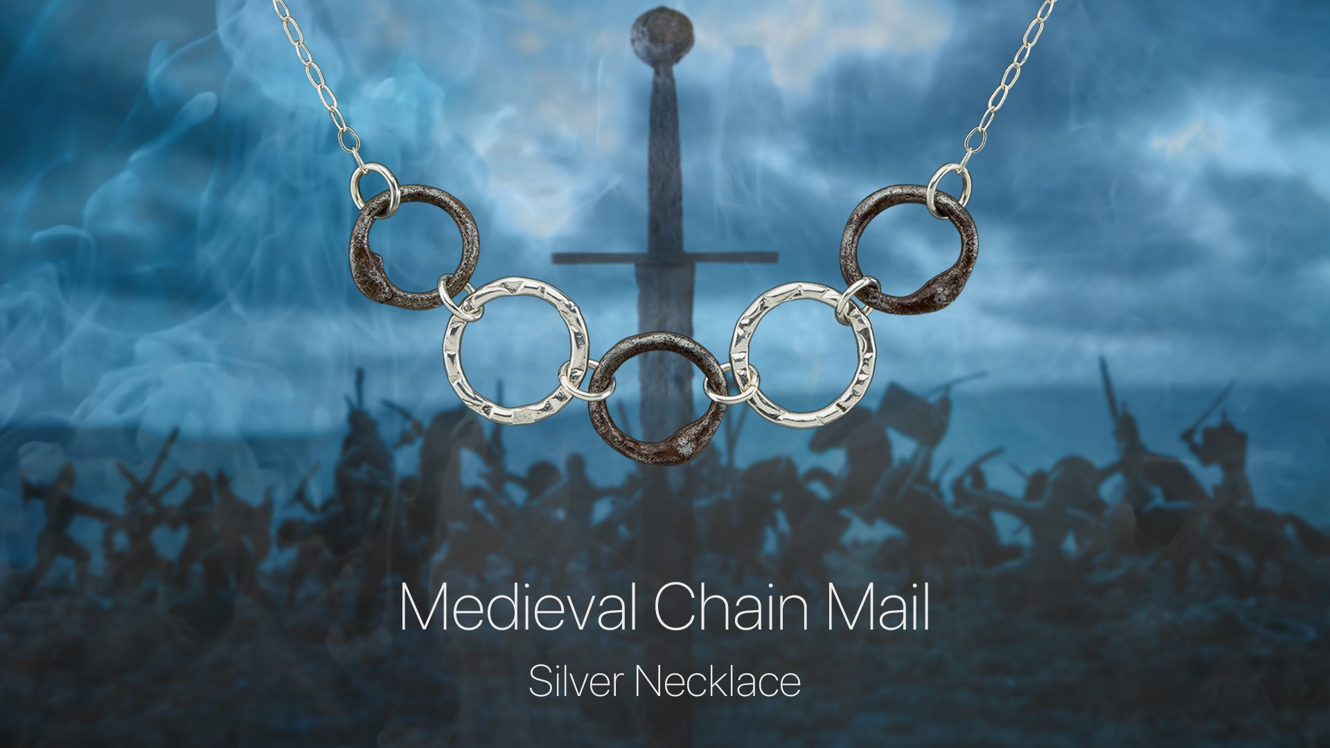 Medieval Chain Mail Silver Necklace