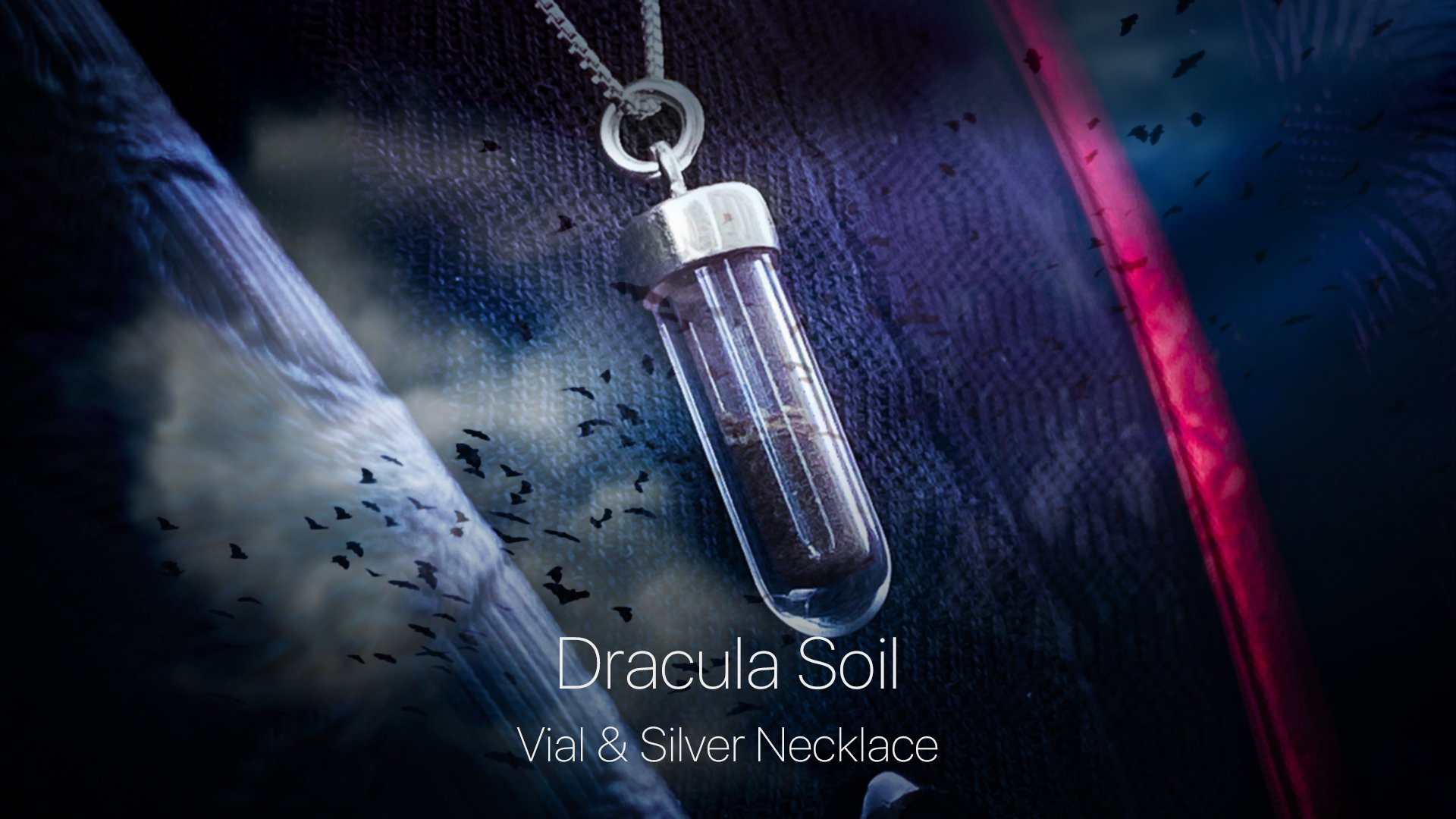 Dracula Soil Vial and Silver Necklace