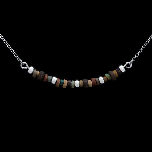 Mummy Beads Necklace Silver